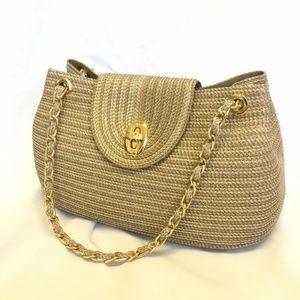 Eric Javits Gold, Tan, Silver Woven Shoulder Bag